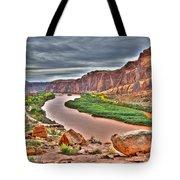 Colorado River Flows Through A Stormy Moab Portal Tote Bag