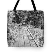 Colorado Rocky Mountain Forest Path Bw Tote Bag