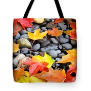 Colorful Autumn Leaves Prints Rocks Tote Bag