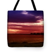 Colorful Clouds Over Ocean At Sunset Tote Bag