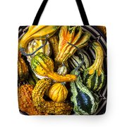 Colorful Gourds In Basket Tote Bag