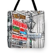Colorful Neon Sign On Bourbon Street Corner French Quarter New Orleans Colored Pencil Digital Art Tote Bag
