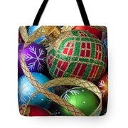 Colorful Ornaments With Ribbon Tote Bag