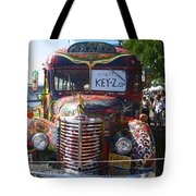 Colorful Painted Hippie Bus Tote Bag