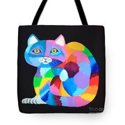 Colorful Rainbow Cat Tote Bag