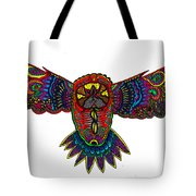 Coloured Owl Tote Bag by Karen Elzinga