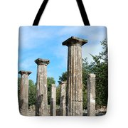 Columns At Olympia Greece Tote Bag by Eva Kaufman