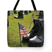 Combat Boots Are Placed In Formation Tote Bag