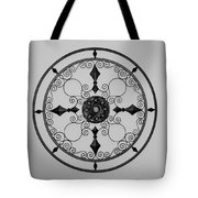 Compass In Black And White Tote Bag