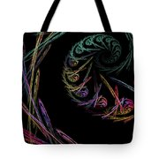Computer Generated Abstract Fractal Flame Black Modern Art Tote Bag