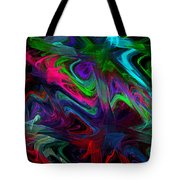 Computer Generated Blue Green Abstract Wave Fractal Flame Modern Art Tote Bag