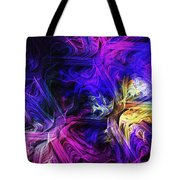Computer Generated Blue Pink Abstract Fractal Flame Tote Bag