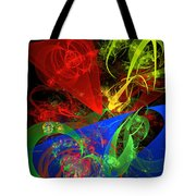 Computer Generated Blue Red Green Abstract Fractal Flame Modern Art Tote Bag
