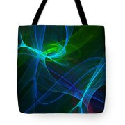 Computer Generated Green Blue Abstract Fractal Flame Modern Art Tote Bag