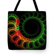 Computer Generated Green Red Abstract Fractal Flame Modern Art Tote Bag