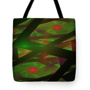Computer Generated Green Triangles Abstract Fractal Flame Abstract Art Tote Bag