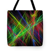 Computer Generated Lines Abstract Fractal Flame Black Background Tote Bag