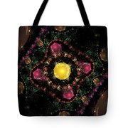 Computer Generated Pink Green Abstract Fractal Flame Black Background Tote Bag