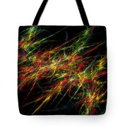 Computer Generated Red Green Abstract Fractal Flame Black Background Tote Bag