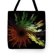 Computer Generated Red Yellow Green Abstract Fractal Flame Black Tote Bag