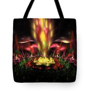 Computer Generated Red Yellow Green Abstract Fractal Flame Tote Bag