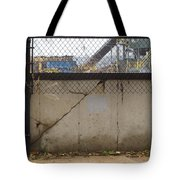 Concrete And Rusty Fence Tote Bag