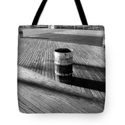 Coney Island Boardwalk In Black And White Tote Bag