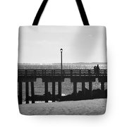 Coney Island Coast In Black And White Tote Bag