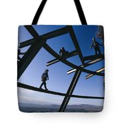 Construction Workers On Beams Tote Bag