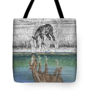 Contemplating Reality - Mare And Foal Horse Print Tote Bag