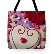 Cookie And Candy Hearts Tote Bag by Garry Gay