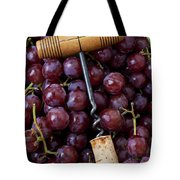 Corkscrew And Wine Cork On Red Grapes Tote Bag