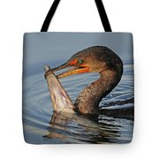 Cormorant With Large Fish Tote Bag