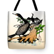 Cormorants On Mangrove Stumps Filtered Tote Bag