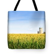 Corn Field With Silos Tote Bag