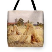 Corn Stooks By Bray Church Tote Bag by Heywood Hardy