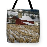 Corn Stubble And Barn In A Wintery Tote Bag