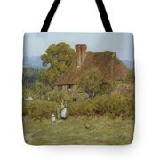 Cottage At Broadham Green Surrey In Sunset Light Tote Bag