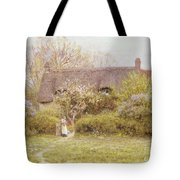 Cottage Freshwater Isle Of Wight Tote Bag by Helen Allingham