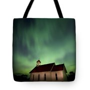 Country Church And Northern Lights Tote Bag
