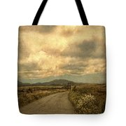 Country Road With Wildflowers Tote Bag
