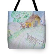 Country Woodshed Tote Bag by Debbie Portwood