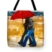 Couple Under A Red Umbrella Tote Bag