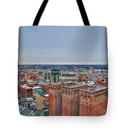 Courthouse And Statler Towers Winter Tote Bag