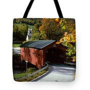 Covered Bridge In Vermont Tote Bag