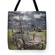 Covered Wagon And Farm In 1880 Town Tote Bag