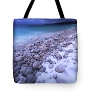 Covered With Snow Pebbled Shore Of Georgian Bay Tote Bag