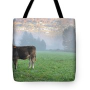 Cow On The Foggy Field Tote Bag