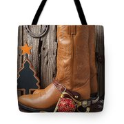 Cowboy Boots And Christmas Ornaments Tote Bag