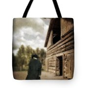 Cowboy Walking By Barn Tote Bag